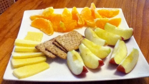 apple, orange, fruit, cheese, lunch, fresh