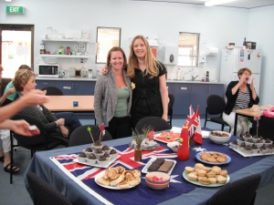 Foreign birthday tea for the Brit and the Canuck.