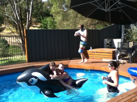 All three of us fit on that killer whale!