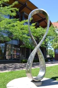 okanagan regional library, downtown kelowna, infinity artwork, sculpture, downtown Kelowna