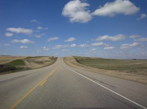 open road, hwy 22, highway driving, road trip, big skies, big sky, open sky, blue sky, puffy white clouds, getaway, nature