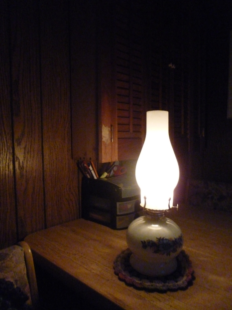 My kerosene lamp. No running water either.